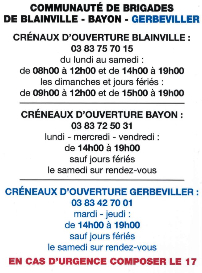 Horaires_2017_Gendarmerie_GERBEVILLER